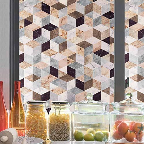 LC&TEAM 90 * 200cm Fensterfolie selbsthaftend Sichtschutzfolie Blickdicht Fensterbilder bunt statische Folie Dusche Milchglasfolie Muster Anti-UV Folie ohne Kleber Dekofolie Morandi-Stil