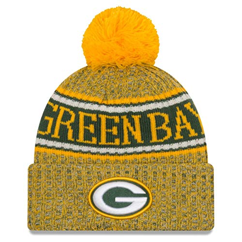 New Era Green Bay Packers Beanie NFL 2018 Sideline Sport Reverse Knit Green/Yellow - One-Size