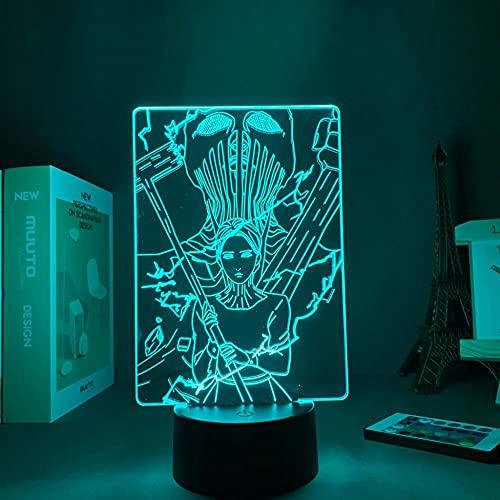 Lámpara de ilusión 3D Mood Led Luz de noche Acrílico Personaje de dibujos animados Attack On Titans War Hammer Decoración para dormitorio-Base negra_Sin control remoto