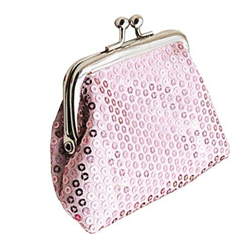 Portamonete da donna con paillette, pochette scintillante con pratica chiusura Pink