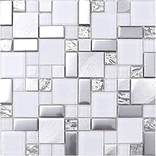 Happybuy 12 Pcs 12 Inch X 12 Inch Blue Glass Mosaic Backsplash Tile for Kitchen Bathroom Pools etc 10 Square Feet