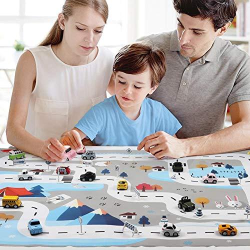 Kinder Teppich City Life Für Das Spielen Mit Auto Spielzeug, Kinder Pädagogische Straßenverkehr Spielbereich, 8 Spielzeugautos 18 Verkehrszeichen 1 Krabbeldecke, 51,18
