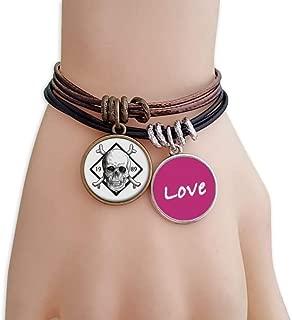 Skeleton Pirate 1989 Decoration Pattern Love Bracelet Leather Rope Wristband Couple Set