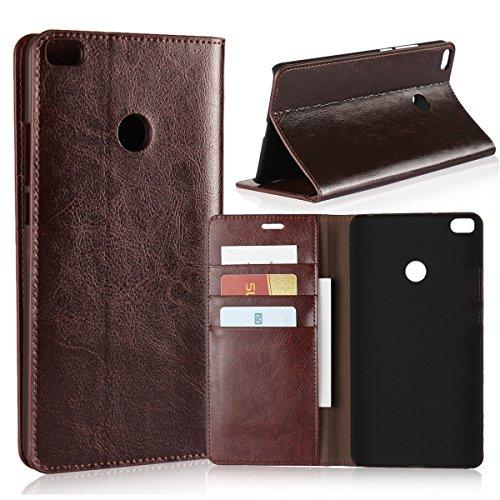 Copmob Hülle Xiaomi Mi Max 2,Premium Flip Brieftasche Leder Schutzhülle,[3 Kartensteckplätze][Bracket-Funktion][Stoßfestes TPU],Ledertasche Handyhülle für Xiaomi Mi Max 2 - Dunkelbraun