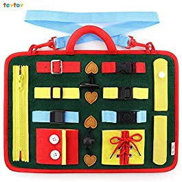 teytoy Busy Board for Toddlers, Baby Basic Skills Activity Board Preschool Educational Learning Toys Fine Motor Montessori Sensory Board Learn to Dress Snap Zip Tie Shoe Laces for 2 to 4 Year Old Kids