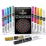 Castle Art Supplies 12 rotuladores con colores brillantes a base de aceite. Pinta en materiales como piedra, metal, madera, vidrio y muchos más. Resistente a la intemperie y no tóxicos