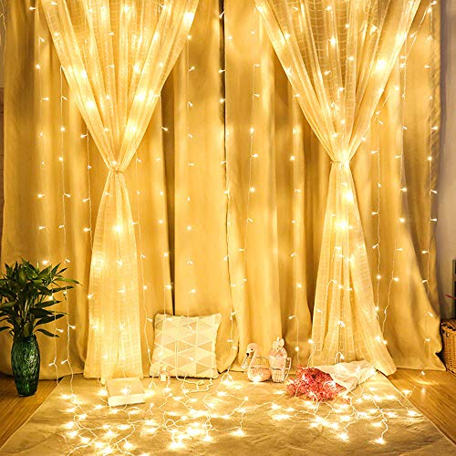 Luccase 120/300 LEDs Lichterketten Vorhang Leuchten Led Vorhang Seil Licht Outdoor Garten Bühne Dekorative für Hochzeit Schlafzimmer Wohnzimmer, 1x3 Meter / 3x3 Meter (B)