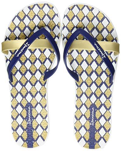 Ipanema Kirei Silk V Fem, Chanclas Mujer, Multicolor (White/Blue/Gold 9215.0), 41/42 EU