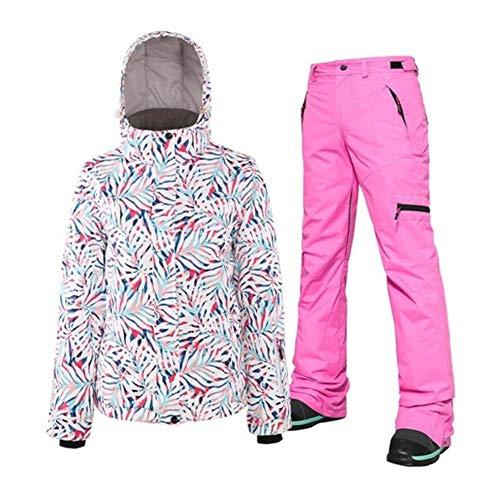 JSYDTX Damen wasserdichte Skijacke Bunte Snowboard und Lätzchen Hosenanzug Frauen Frau Winter Ski Sport Schneehosen Snowsuit (Farbe : Color 1 Set, Size : L)