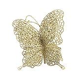 Firlar - Adornos de Mariposas Artificiales para árbol de Navidad (12 Unidades, 7 cm), Color Azul, Dorado, 7 cm
