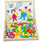 Magnetic Puzzle Board Wooden Toys, Double Sided Wooden Jigsaw Magnetic Drawing Board with White Board Chalk Board Fridge Magnets for Kids Learning Educational Toys for 3 4 5 Year Old Boys Girls