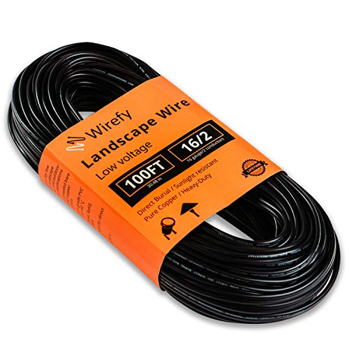 Wirefy 16/2 Low Voltage Landscape Lighting Wire - 16-Gauge 2-Conductor 100 Feet