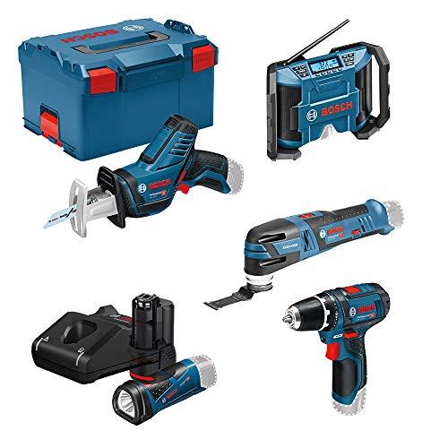 Bosch Professional 12V atornillador bat. GSR 12V-15 FC+multiherramienta GOP 12V-28+radio GPB 12V-10+linterna LED GLI 12V-80+sierra sable GSA 12V-14 (3 bat., L-BOXX)
