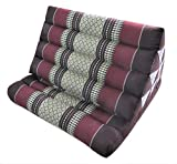 Land of Simple Treasures Thai Triangle Pillow with One Fold Cushion Seat - All Natural Kapok Fiber Filling - Large Backrest, Headrest, Extra Firm (Daisy Burgundy)