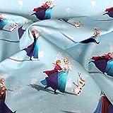 Jersey-Stoff – Die Eiskönigin Ana & Elsa mittelblau –