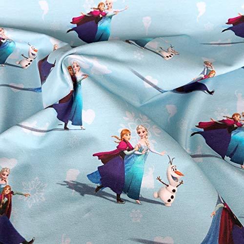 """Jersey-Stoff """"Frozen"""" – Frozen Ana & Elsa in Mittelblau – Jersey – HEM103 – 0,5 Meter 50 cm x 150 cm – 95 % Baumwolle, 5 % Elastan, Stretch-Jerseystoff"""