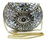 stone mosaic metal bag antique ethnic bridal clutch Indian purse party clutch women bag (Shell)