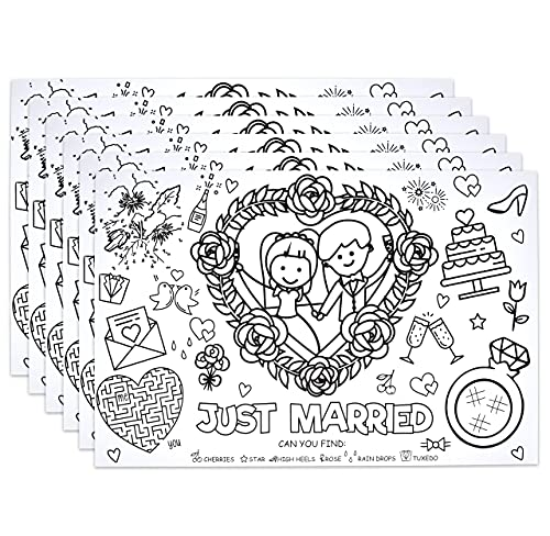 """Disposable Wedding Activity Place Mats for Kids 50 Pack Coloring Activity Paper Place Mat 11""""x 17"""" Game Table Mat Sheets for Table Setting Dinner Children Entertainment Party Supplies Decoration"""