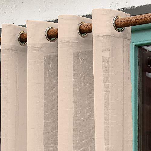 Barceló Hogar - Cortina Madeira, Efecto Visillo Translucido Color Beige, 1 Pieza Medida 140x270 cm, 8 Anillas de 40 mm, Largo de Fácil Ajuste