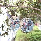 Liffy Cadeau Ensemble de 2 décorations à suspendre pour assiette en verre libellule pour décoration murale, décor de jardin, cadeaux de vacances et commémoratifs
