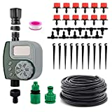 DricRoda Automatic Drip Irrigation Kit with Hose Timer, Self Watering Kits Garden Irrigation System with 33ft 1/4' Blank Distribution Tubing Hose for Garden, Flower Bed, Lawn
