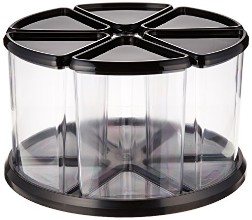 "Deflecto Rotating Carousel Organizer, 360 Spin, 6-Canister Configuration, Removable, Clear, Black Lids, 11-1/8""W x 6-5/8""H x 11-1/8""D (39000104)"