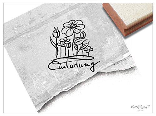 Stempel - Textstempel EINLADUNG handschriftlich mit Blumen - Holzstempel Schriftstempel für Einladungskarten - von zAcheR-fineT