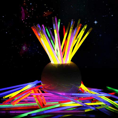 Pulseras luminosas 100 unidades, colores variados, pulseras fluorescentes, accesorios para fiestas carnaval,...