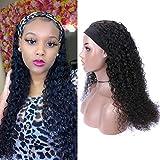 10A Headband Deep Water Wave Human Hair Wig for Women Brazilian Virgin Human Hair Gluess Full Head Extensions Wig Headband Scarf Wig 180% Density 26 Inches…