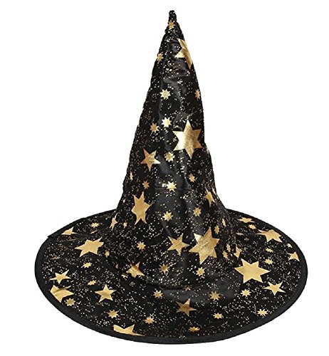 Da.Wa 1 Stück Kinder Hexenhut Mit Goldenen Sternen 18x35cm