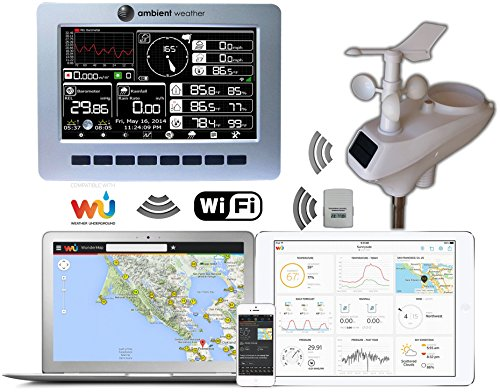 Ambient Weather WS-1001-WIFI Observer Solar Powered Wireless WiFi Weather Station w/Solar Radiation & UV - Compatible with Alexa & Google Assistant