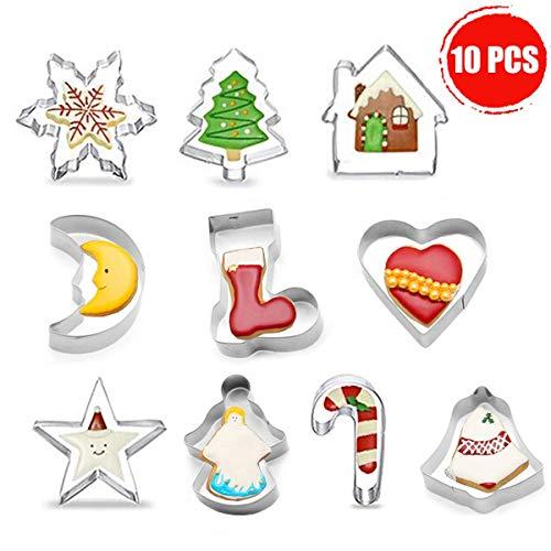 Stampini Biscotti Natale Tagliabiscotti Natalizi Set 10 Pcs Formine Biscotti a Tema Natalizio con Forma di Babbo Natale & Fiocco di Neve ECC - Stampini per Biscotti in Acciaio Inox per Natale