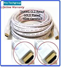 Pro-Techgroup Profesional Quality 20 ft HDMI 1.3 24AWG Category 2 CL2 rated Gold plated - 10.2 Gbps 1080p Deep Color - White