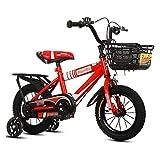 LIUXR Infantiles Bicicletas Bicicletas para niños 12/14/16/18 Pulgadas, Bicicleta para niños de Acero al Carbono con Rueda de Entrenamiento Regalo para niños y niñas de 2-10 años,Red_16inch