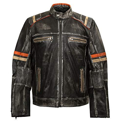 New Rock Chaqueta de Piel napa para Hombre Estilo Biker W-NRLMJ007-S1 (L)