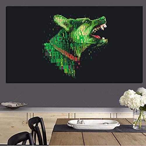 Cyber war green wolf black ground animal lienzo