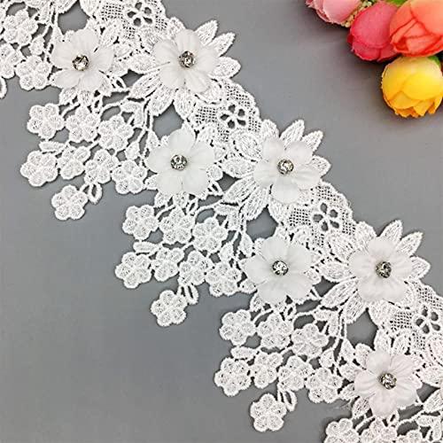 ALXY Vintage Flor 3D Diamante Cordón de cordón Tela de Cinta Bordada Aplique Aplique Trimmings DIY Costura Artesanía Decoración 1 Yarda (Color : Blanco)