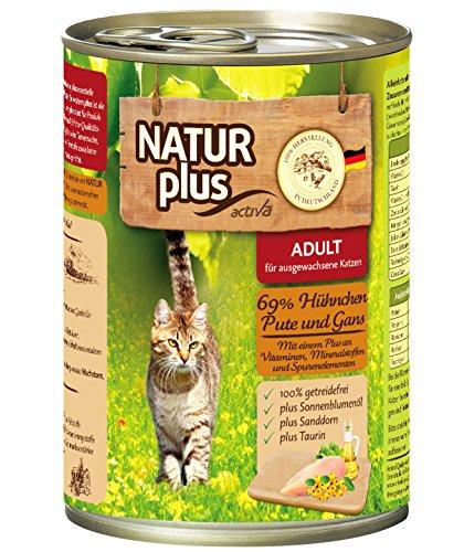 NATUR plus Katzenfutter ADULT mit 69% Hühnchen, Pute, & Gans, getreidefrei - 6 x 400 g