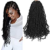 LUCUBRATION Passion Twist Hair 20 inch Pre-twisted Passion Twist Hair 7 packs Passion Twist Black Crochet Hair Pre-looped Crochet Braids Synthetic Braiding Hair Extensions (20''-7pcs, BK)