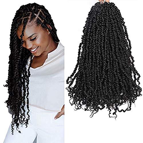 LUCUBRATION Passion Twist Hair 20 inch Pre-twisted Passion Twist Hair 7 packs Passion Twist Black Crochet Hair Pre-looped Crochet Braids Synthetic Braiding Hair Extensions (20''-7pcs, BK)