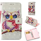 For Samsung Galaxy J7 Sky Pro Case Wallet,Galaxy J7 V Case,Galaxy J7 Prime Case,Galaxy J7 2017 Case,Galaxy J7 Perx Case,Voanice Card Slots and Stand PU Leather Flip Protective Cover &Stylus-Lovely Owl