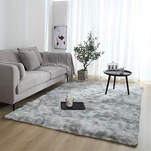 Rugs Fluffy tapijt, antislip, dik plafond van Zona voor woonkamerdecoratie, woonkamerdecoratie, rechthoek (kleur: lichtgrijs, maat: 80 x 120 cm)
