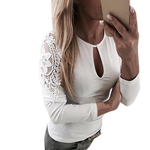 Zarupeng hemd met puntige naden, dames casual blouse kant patchwork crop tops lange mouwen O-neck T-shirt slim jumper wit kant shirt stretch tuniek