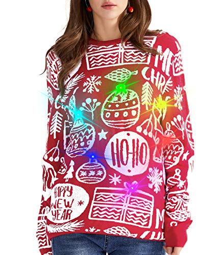 QUALFORT Women's Ugly Christmas Sweater Light Up Xmas Sweaters