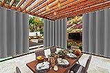 Outdoor Vorhänge mit Ösen Oben(ID:4cm)+Unten(ID:4cm) Outdoor Wasserdicht Ösenvorhang für Veranda,Pergola, Cabana, überdachte Terrasse, Gazebo-grau_B254XH183cm-2_Stücke