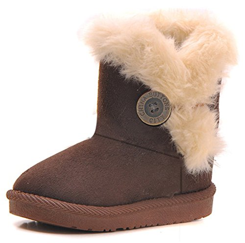 Femizee Girls Boys Warm Winter Flat Shoes Bailey Button Snow Boots(Toddler/Little Kid),Coffee,7 M US Toddler