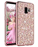 YINLAI Samsung Galaxy S9 Case, Samsung S9 Phone Case Glitter Sparkle Bling Shiny Girly Cover Thin Durable Hybrid Bumper Shockproof Hard Anti-Slip Protective Phone Case for Samsung Galaxy S9, Rose Gold