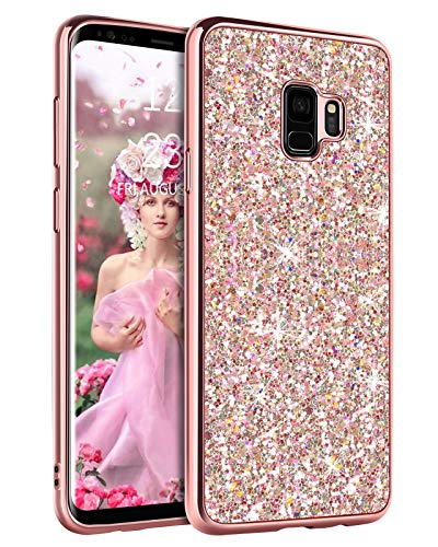 YINLAI Samsung S9 Case,Slim Glitter Sparkle Bling Durable Hybrid Bumper Shockproof Hard PC Cover Anti-Slip Full Body Protective Phone Case for Galaxy S9 for Women Girls, Rose Gold/Pink