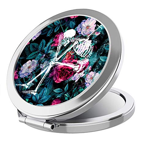 IMLONE Portable Travel Makeup Mirror Round Sliver 2X Magnification Women Girl Folding Compact Mirror Perfect for Purses/Travel -Beauty Flamingo (Flower 2)