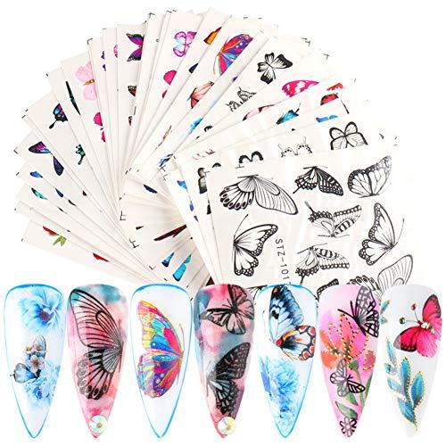 Pegatinas de mariposa para decoración de uñas, pegatinas de uñas, suministros de agua, pegatinas de mariposa, para decoración de uñas, mariposas coloridas para uñas